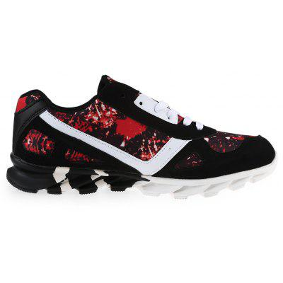 Buy RED WITH BLACK Colour Spliced Print Tie Up Athletic Shoes for $34.15 in GearBest store