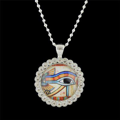 Rhinestone Eye Round Pendant Necklace
