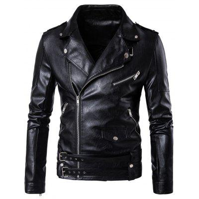 Asymmetrical Zip Up Belted Biker Jacket