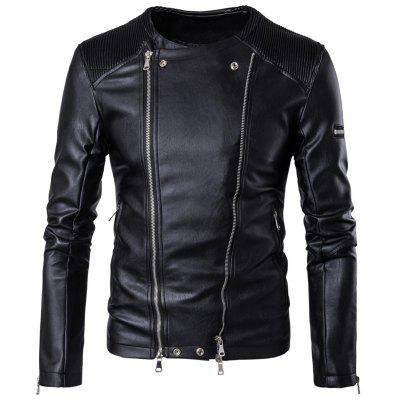 Convertible Zip Up Collarless Biker Jacket