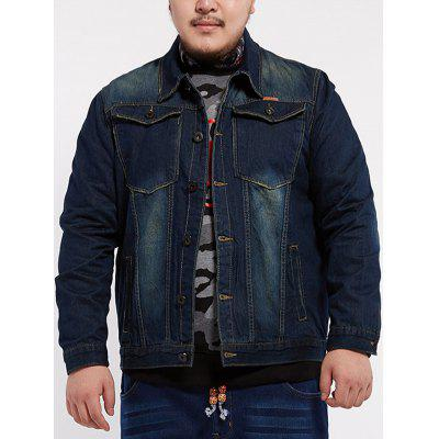 Turn Down Collar Plus Size Denim Jacket