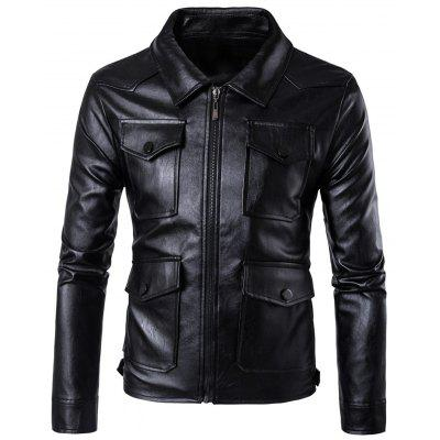 Flap Pockets Zip Up Faux Leather Jacket