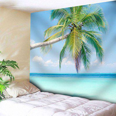 Buy BLUE Coconut Tree Print Wall Hanging Microfiber Tapestry for $17.23 in GearBest store