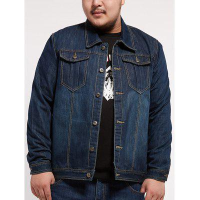 Multi Pocket Plus Size Denim Jacket