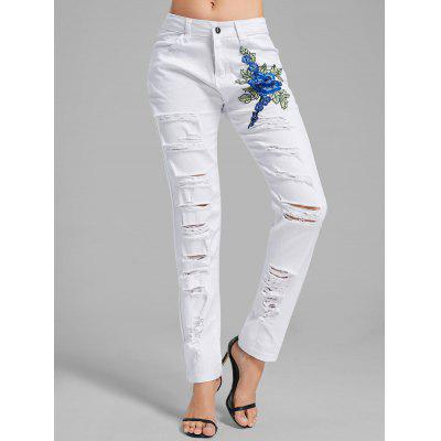 Buy WHITE L Floral Embroidered Ripped Denim Pants for $24.41 in GearBest store