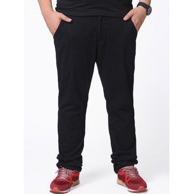 Zipper Fly Plus Casual Pants