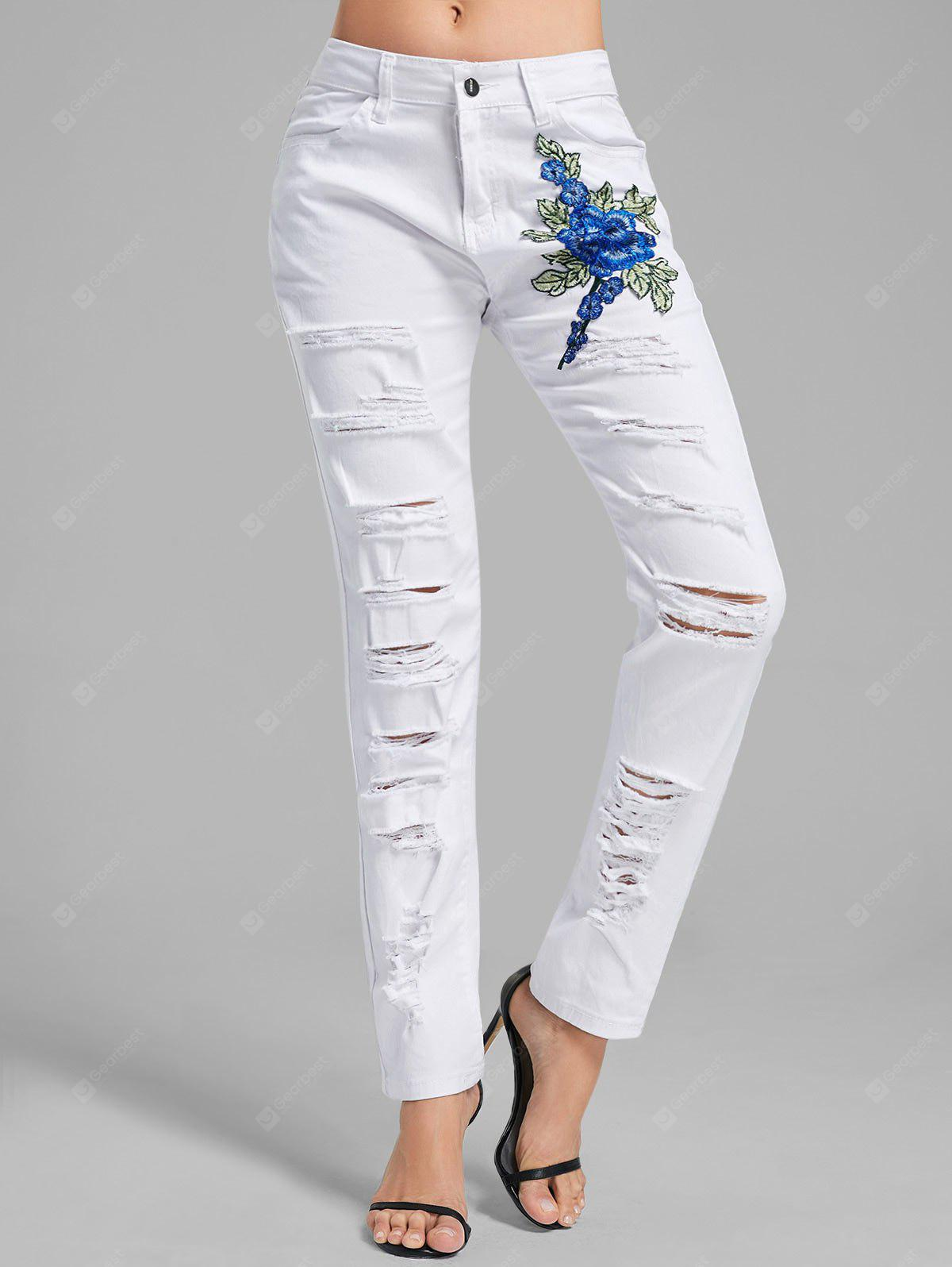 WHITE 2XL Floral Embroidered Ripped Denim Pants