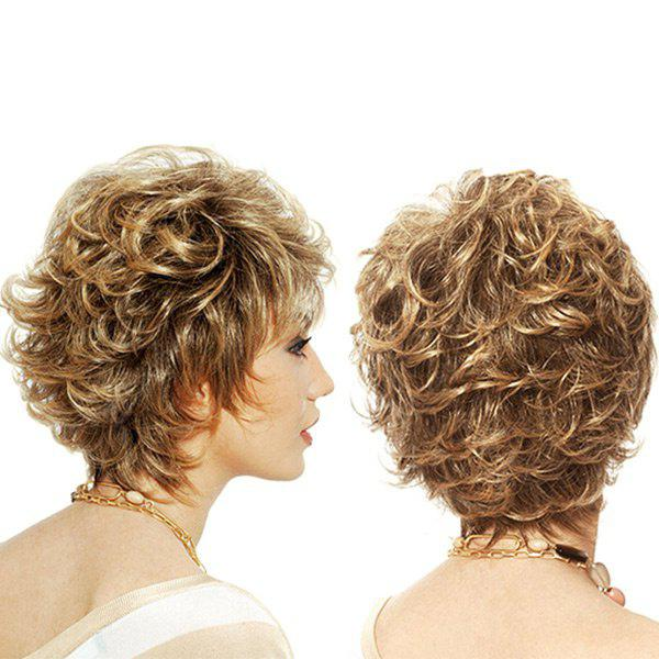 Short Side Bang Colormix Shaggy Layered Curly Synthetic Wig