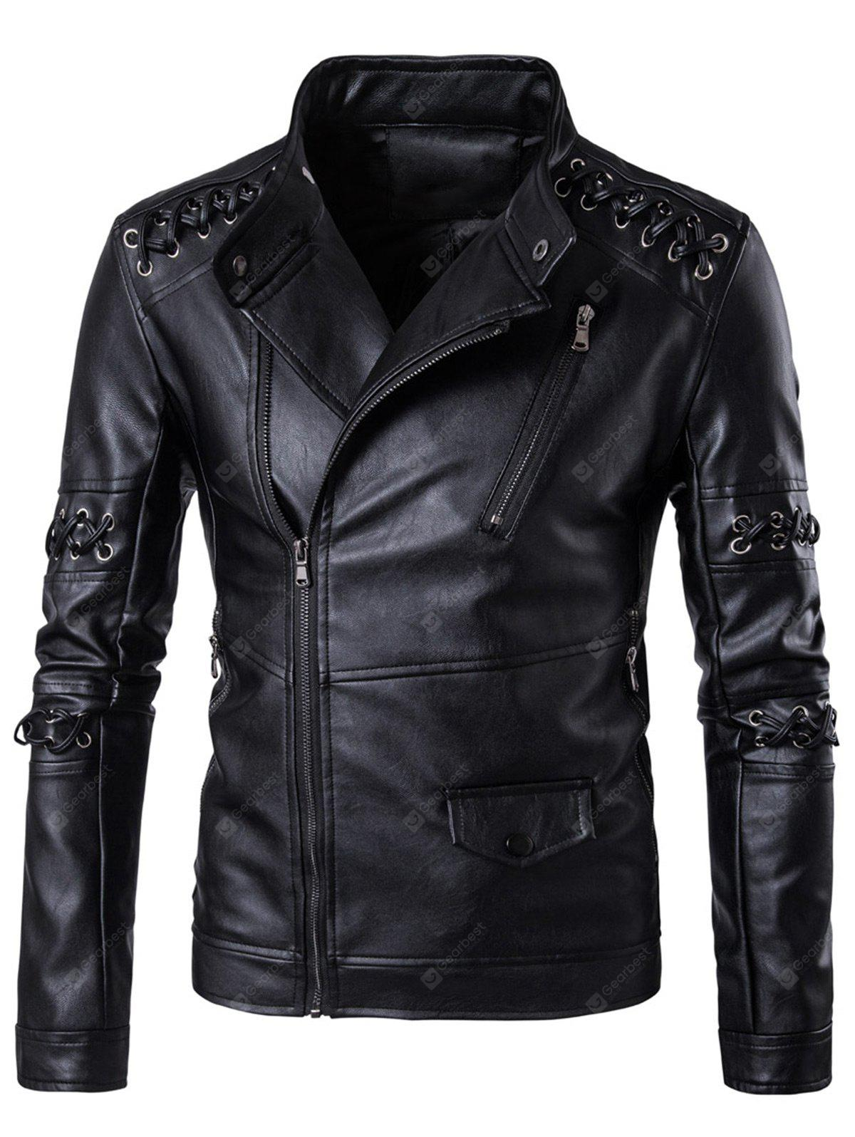 Sennit Design Asymmetrical Zip Up Biker Jacket