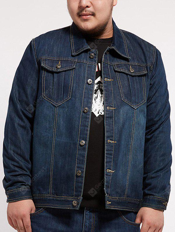 Multi Pocket Turndown Collar Plus Size Denim Jacket
