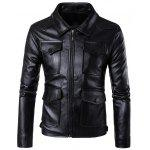 Tasche Flap Zip Up Faux Leather Jacket - NERO