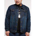 Multi Pocket Turndown Collar Plus Size Denim Jacket - DENIM BLUE