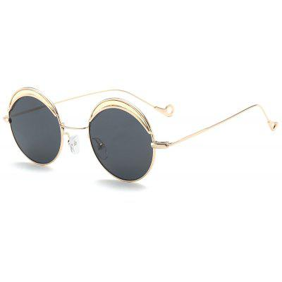 Two-tone Spliced Round Hollow Out Leg Sunglasses