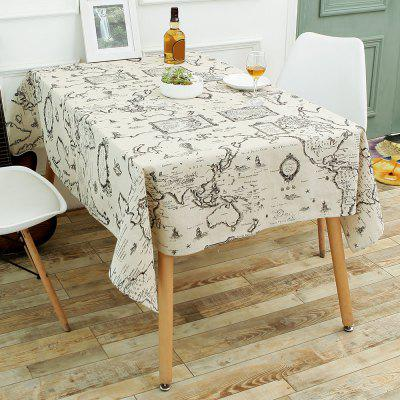 World Map Print Linen Table Cloth for Dining
