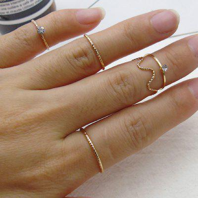 Rhinestone Circle Finger Ring Set