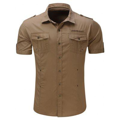 Buy KHAKI Turndown Collar Multi Pockets Epaulet Cargo Shirt for $22.87 in GearBest store