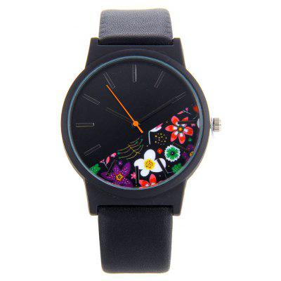 Floral Face Faux Leather Band Watch