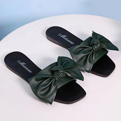 Flat Heel Faux Leather Bowknot Slippers