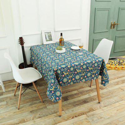 Bohemian Sika Deer Floral Print Linen Table Cloth