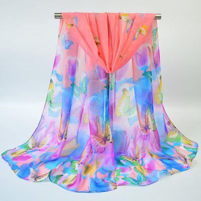 Showy Flowers Butterfly Printed Gossamer Scarf