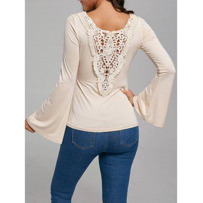 Lace Trim Flare Sleeve Hollow Out T-Shirt
