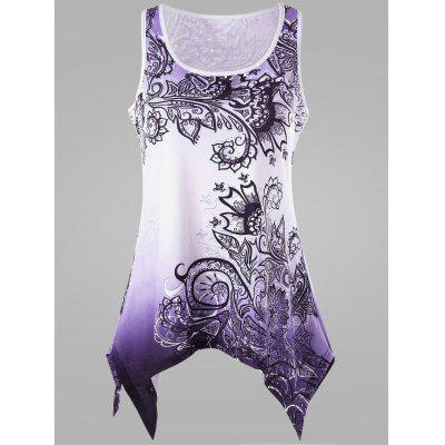 Buy PURPLE 3XL Plus Size Ombre Handkerchief Tank Top for $16.91 in GearBest store
