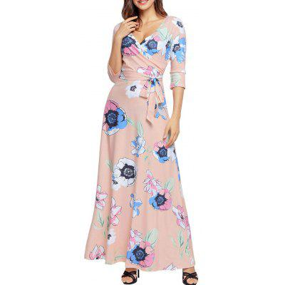 Floral Print Belted Floor Length DressWomens Dresses<br>Floral Print Belted Floor Length Dress<br><br>Dresses Length: Floor-Length<br>Elasticity: Elastic<br>Material: Cotton, Polyester<br>Neckline: V-Neck<br>Package Contents: 1 x Dress  1 x Belt<br>Pattern Type: Floral<br>Season: Fall<br>Silhouette: A-Line<br>Sleeve Length: 3/4 Length Sleeves<br>Style: Brief<br>Weight: 0.6700kg<br>With Belt: Yes