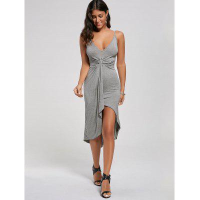 Knotted Asymmetrical DressWomens Dresses<br>Knotted Asymmetrical Dress<br><br>Dress Type: Slip Dress,Sundress<br>Dresses Length: Mid-Calf<br>Elasticity: Elastic<br>Material: Cotton, Polyester<br>Neckline: Spaghetti Strap<br>Package Contents: 1 x Dress<br>Pattern Type: Solid<br>Season: Summer<br>Silhouette: Asymmetrical<br>Sleeve Length: Sleeveless<br>Style: Sexy &amp; Club<br>Weight: 0.2700kg<br>With Belt: No