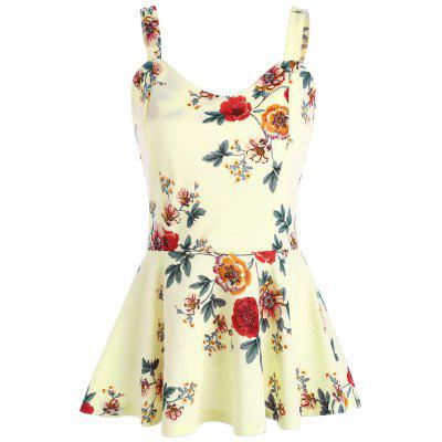 Buy PALOMINO L Backless High Waist Floral Peplum Tank Top for $17.47 in GearBest store