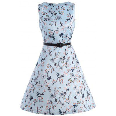 Buy LIGHT BLUE 2XL Vintage Floral Print Party Swing Dress for $19.75 in GearBest store