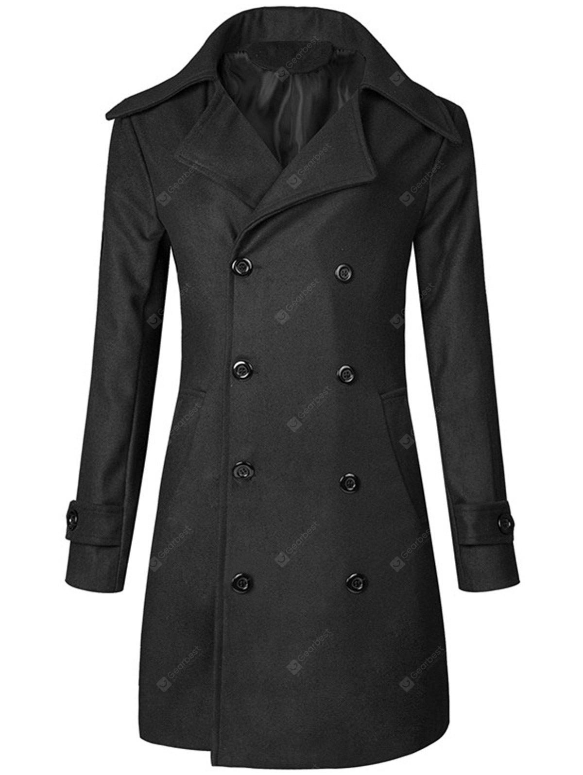 Double Breasted Wide Lapel Trench Coat