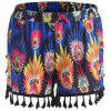 Tassel Feather Print Plus Size Mini Shorts - BLUE