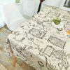 World Map Print Linen Table Cloth for Dining - GRAY