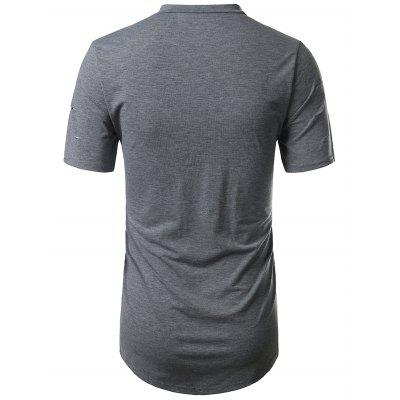 Half Zip Crew Neck Distressed TeeMens Short Sleeve Tees<br>Half Zip Crew Neck Distressed Tee<br><br>Collar: Crew Neck<br>Embellishment: Zippers<br>Material: Cotton, Polyester<br>Package Contents: 1 x Tee<br>Pattern Type: Solid<br>Sleeve Length: Short<br>Style: Fashion, Casual<br>Weight: 0.2700kg
