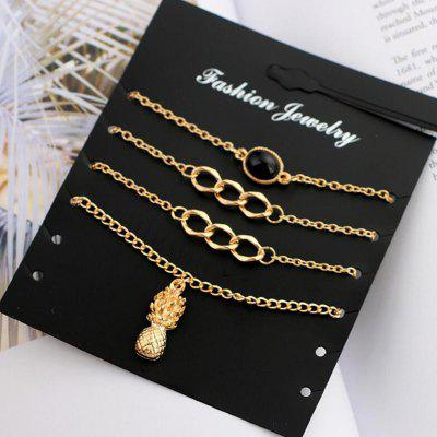Pineapple Charm Chain Bracelet Set