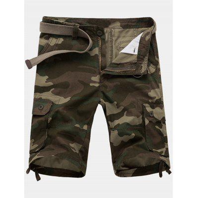 Zip Fly Camouflage Cargo Shorts with Pockets