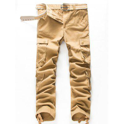 Zip Fly Button Pockets Straight Cargo Pants