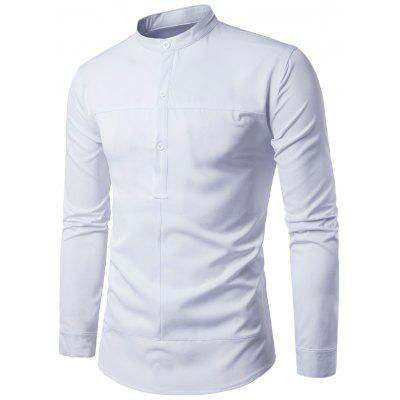 Buy WHITE L Stand Collar Half Buttons Long Sleeve Shirt for $21.28 in GearBest store