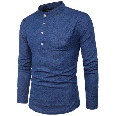 Buy DEEP BLUE L Stand Collar Half Buttons Rhombus Denim Shirt for $22.12 in GearBest store