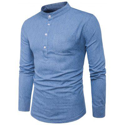 Buy LIGHT BLUE L Stand Collar Half Buttons Rhombus Denim Shirt for $22.12 in GearBest store