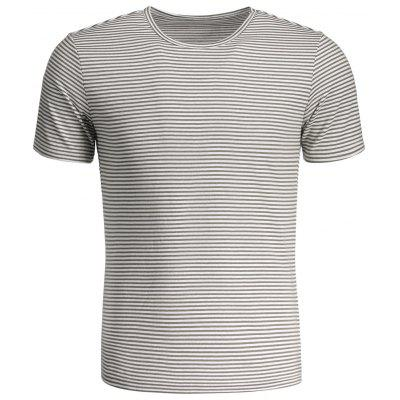 T-shirt Jersey Col Rond à Rayures pour Homme