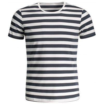 T-shirt Jersey à Rayures Col Rond pour Homme