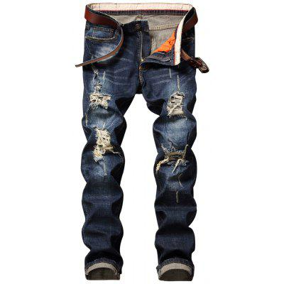 Buy DENIM BLUE 34 Destroyed Straight Leg Cuffed Jeans for $41.60 in GearBest store