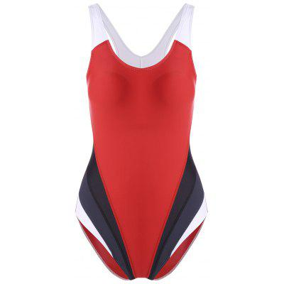 Color Block Backless Sports Swimsuit