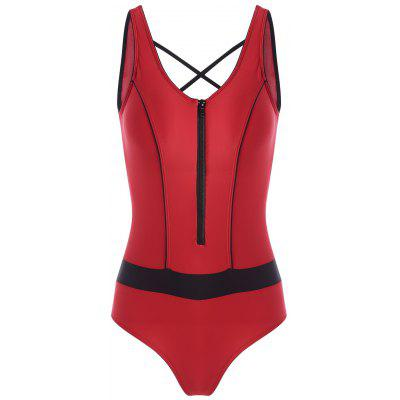 Zip Cut Out Sports One Piece Swimsuit