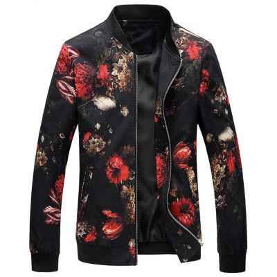 Floral Printed Stand Collar Jacket