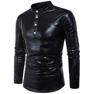 Buy Stand Collar Half Buttons Crocodile PU Leather Shirt BLACK XL Apparel > Men's Clothing > Men's Shirts for $18.00 in GearBest store