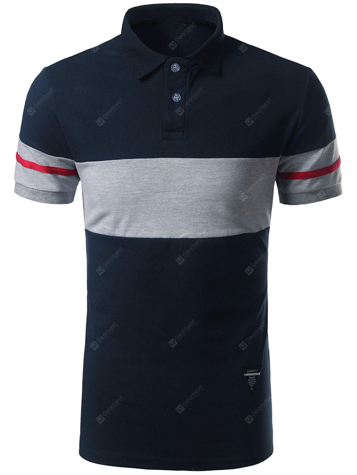 Color Block Striped Patch Polo Shirt