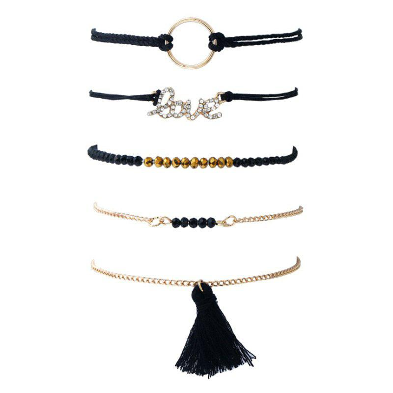 Set di Braccialetti in Rilievo con Perline