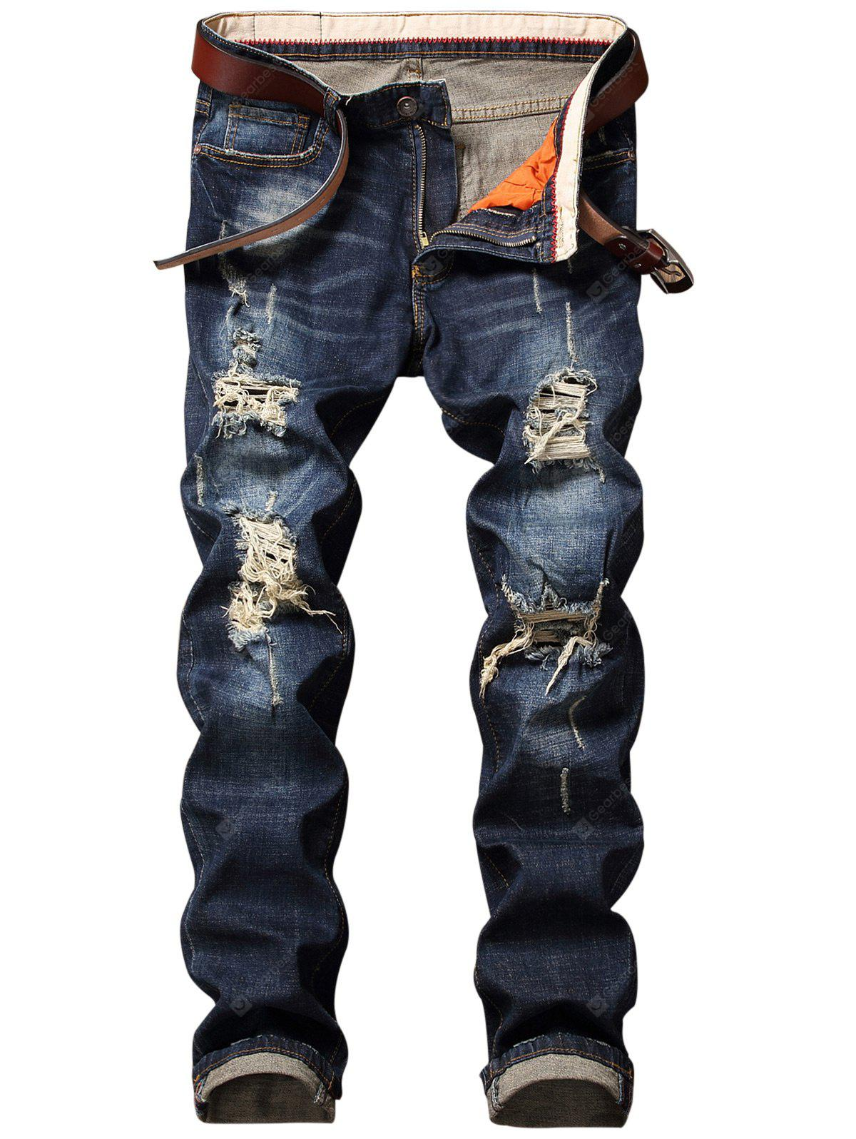 Destroyed Straight Leg Cuffed Jeans